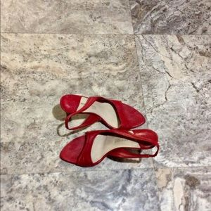 Kenneth Cole Red Leather Open-toe Sling-back Heels
